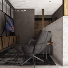 SALA TV: Electrónica de estilo  por Mouret Arquitectura