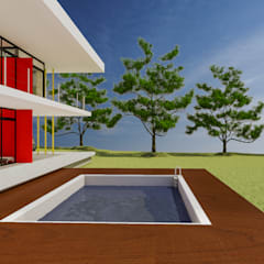 Vivienda de época estival: Piletas de jardín de estilo  por DUSINSKY S.A.
