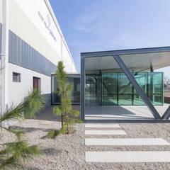 OFICINAS EN PARQUE INDUSTRIAL: Oficinas y Tiendas de estilo  por Mauricio Morra Arquitectos