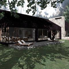 SECTOR TERRAZA/QUINCHO: Casas de estilo rural por KOMMER ARQUITECTOS