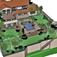 Jardines en la fachada de estilo  por Raul Hilgert Arquitetura de Exteriores,