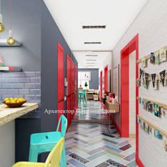 Яркий красный цвет в интерьере : Коридор и прихожая в . Автор – Архитектурное Бюро 'Капитель'