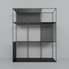 Regał z profili stalowych: styl , w kategorii Powierzchnie handlowe zaprojektowany przez Głogowscy Architektura + Wnętrza