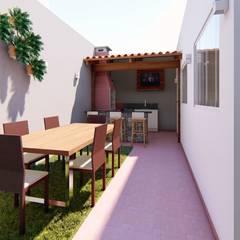 Área Gourmet Planejada Varandas, alpendres e terraços clássicos por Fark Arquitetura e Design Clássico