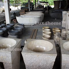 Cream marble pedestal wash basin - standing stone sink granite sinks:  Bathroom by Lux4home™ Indonesia
