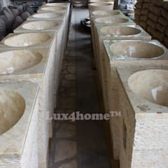 Cream marble pedestal wash basin - standing stone sink granite sinks:  Gym by Lux4home™ Indonesia
