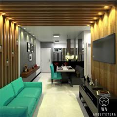 Apartamento 48 m²: Salas de estar  por WV ARQUITETURA