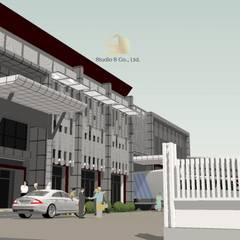 งานรีโนเวทออฟฟิสโรงงาน สไตล์ Modern Industrial :  ระเบียง, นอกชาน โดย สตูดิโอ เอส จำกัด,