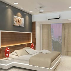 Mr dharmesh house:  Bedroom by The space interiors & contractors.