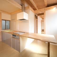 木造平屋建てバリアフリー住宅: 中浦建築事務所が手掛けたキッチン収納です。