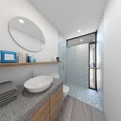 Baño bloque Azul: Baños de estilo  por Taller Veinte
