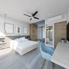 Habitación con Sala bloque Azul: Recámaras de estilo  por Taller Veinte