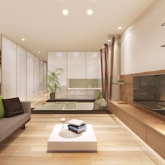 マンションリフォーム:石庭のある住まい: 中浦建築事務所が手掛けたリビングです。