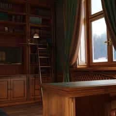 Кабинет в английском стиле: Рабочие кабинеты в . Автор – студия Design3F, Классический