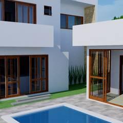 Detalhes da área de lazer: Jardins de fachadas de casas  por Candido & Candido - Arquitetura | Engenharia