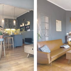 Du vintage pour une ambiance cosy: Salon de style  par SOHA CONCEPTION
