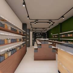 Oficinas y Tiendas de estilo  por Fark Arquitetura e Design, Rústico Madera Acabado en madera