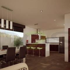 Interiores Modernos, Casas En La Rioja, Monteverde, El Cielo Country Club, Bugambilias, El Palomar,: Cocinas de estilo  por DOS Arquitectura y construcción