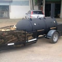 Asador de carne El Capitan Trailer:  de estilo  por Smoke King Ahumadoras,Rústico Hierro/Acero