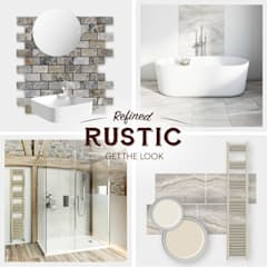 Rustic wall coverings:  Bathroom by Victoria Plum