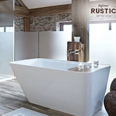 rustic small space bath:  Bathroom by Victoria Plum