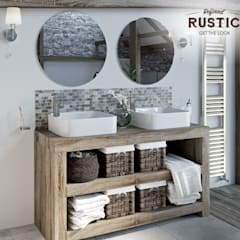 rustic small space twin basins:  Bathroom by Victoria Plum