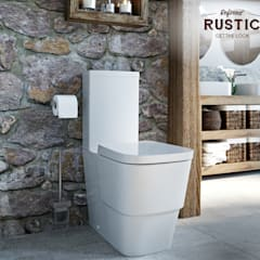 rustic small space toilet:  Bathroom by Victoria Plum