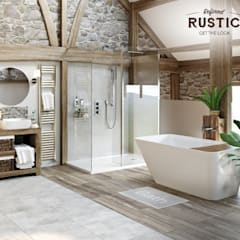 rustic small room:  Bathroom by Victoria Plum