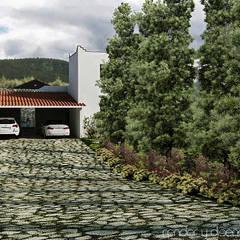 Acceso al estacionamiento techado: Casas de estilo colonial por EMM Studio