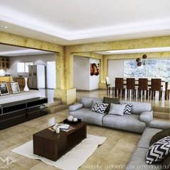 Vista de sala cocina y comedor: Salas de estilo colonial por EMM Studio