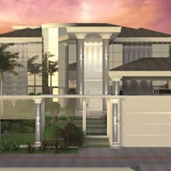 Fachada residencia unifamiliar clássica: Pavimentos  por Juliana Saraiva Arquitetura & Interiores
