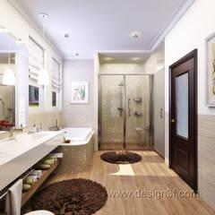 Большая ванная комната с ванной и душевой: Ванные комнаты в . Автор – студия Design3F, Классический