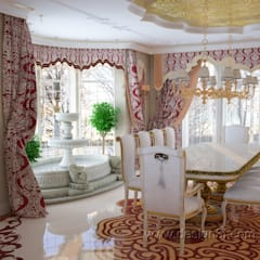 Большая столовая в восточном стиле: Столовые комнаты в . Автор – студия Design3F,