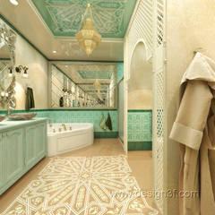 Большая ванная в восточном стиле: Ванные комнаты в . Автор – студия Design3F,