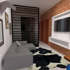 Projeto de Interiores - Apartamento de 40m²: Salas de jantar industriais por Priscyla Targino Arquitetura e Interiores