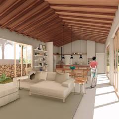 Cozinha integrada Casa Recanto: Cozinhas rústicas por ARAMADO arquitetura+interiores