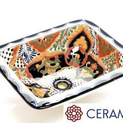 Prostokątna umywalka meksykańska zawsze na czasie: styl , w kategorii Łazienka zaprojektowany przez Cerames