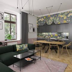 Mieszkanie / zieleń + róż + kwiaty: styl , w kategorii Aneks kuchenny zaprojektowany przez Moble.,