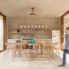 HOTEL KIWI, BACALAR, QUINTANA ROO, MÉXICO.: Comedores de estilo topical por Obed Clemente Arquitecto
