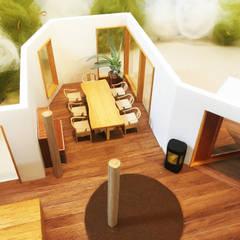 ダイニングを上から俯瞰。: 鎌倉住宅設計事務所 邸宅巣箱が手掛けたダイニングです。