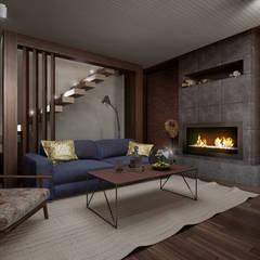 Загородный дом в стиле лофт: Гостиная в . Автор – Alt дизайн