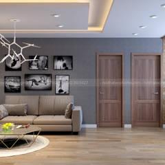 Thiết kế thi công nội thất chung cư HUD2, LINH ĐÀM, HÀ NỘI:  Phòng khách by Công Ty TNHH Xây Dựng & Nội Thất ECO Việt Nam