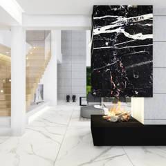 Dom jednorodzinny z antresolą - projekt wnętrz: styl , w kategorii Schody zaprojektowany przez 4Q DEKTON Pracownia Architektoniczna
