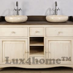 Round vessel marble sink - Vessel stone wash basins marble cream:  Bathroom by Lux4home™ Indonesia
