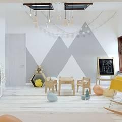 Salle multimédia de style  par Loft&Home