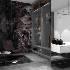 Sypialnia z garderobą: styl , w kategorii Garderoba zaprojektowany przez 91m2 Architektura Wnętrz