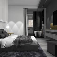 Sypialnia z łazienką: styl , w kategorii Sypialnia zaprojektowany przez 91m2 Architektura Wnętrz