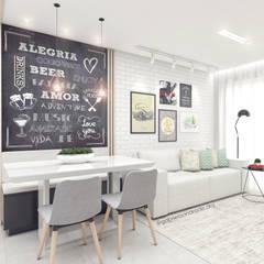 Sala de estar e jantar: Salas de jantar  por Gabriela Andrade Arquitetura