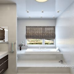 Большая ванная комната в шоколадных тонах: Ванные комнаты в . Автор – студия Design3F