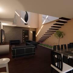 CASA ARBOLEDAS-MONTES DE OCA: Salas de estilo ecléctico por RUBIO + TOVAR ARQUITECTOS